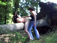 CFNM threesome sex in the forest