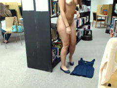 Cute nerd masturbating in public webcam show in library