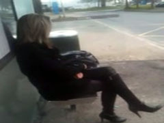 Cumming on a dreamy girl at the bus stop