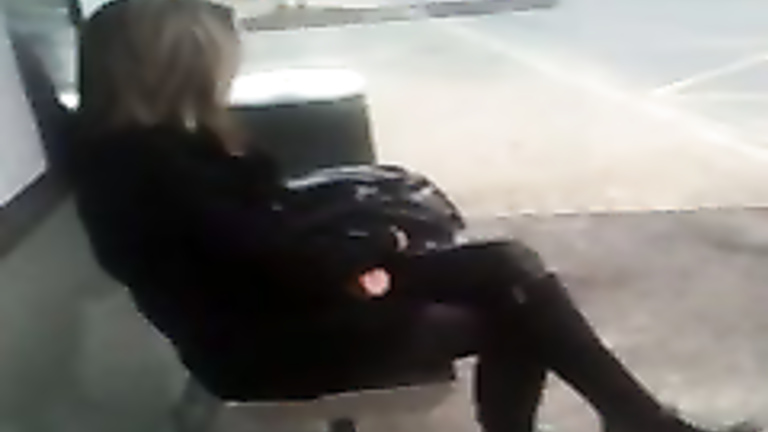 cumming on a dreamy girl at the bus stop voyeurstyle com