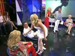 Busty blonde girl stripped nude on Spanish TV show