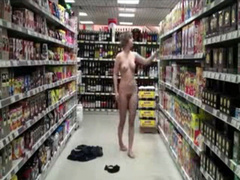 Young amateur strips naked in the grocery store