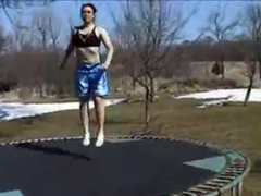 Pounding my girlfriend on the trampoline