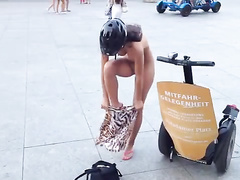 Czech exhibitionist girl gets dressed in public