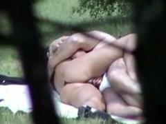Outdoor sex filmed through the bushes by a voyeur