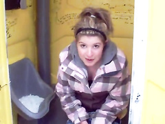Friends prank cute chick in the porta potty