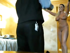 Naked busty blonde gets hotel room service