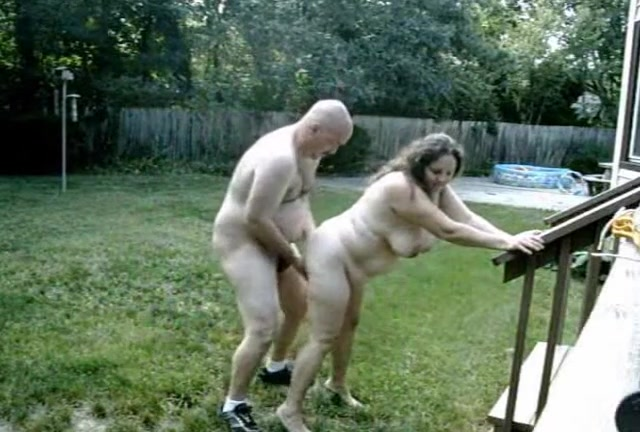 Wife nude backyard her boots