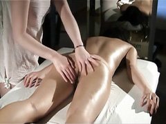Sensual massage with tender lesbian pussy play