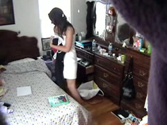 Bedroom hidden cam films my sister getting dressed