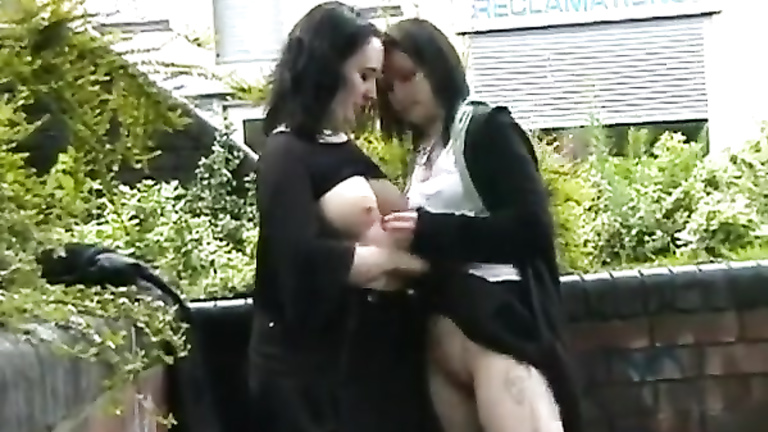 Public tit sucking with two British lesbian babes