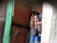Outdoor perv films pretty Russian girl going to the toilet