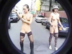 Naked girls walk the streets in pussy pain