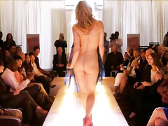 Leslie Bibb gets naked on the fashion runway