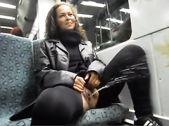 German beauty pees on the train as he films