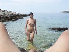 POV blowjob from mature wife in the ocean