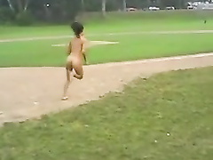 My girl lost a bet and runs naked around the baseball diamond