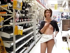 Wife flashing titties in the hardware store