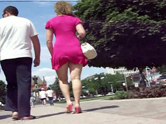 Russian beauties in skirts filmed walking in public