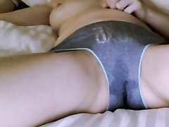Amateur drips pussy juices through her panties