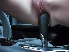 Girlfriend moistens my gear shift with her wet hole
