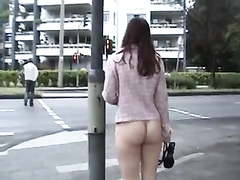 Czech amateur chick is walking naked in public