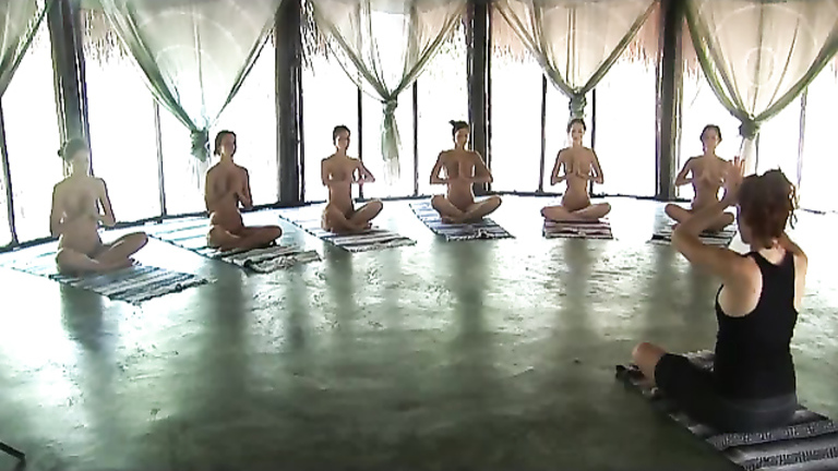 Six lean ladies do morning exercises in the nude