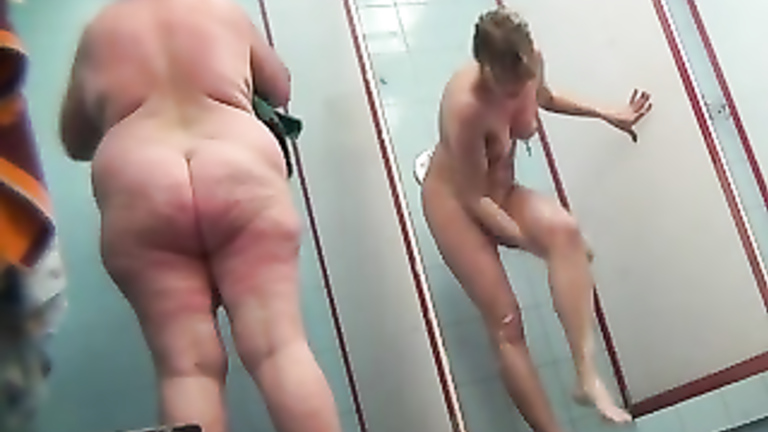 Lean babe and a fatty shower after swimming