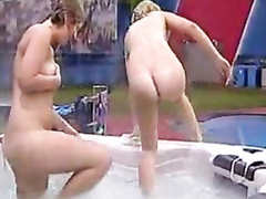 Skinny dipping girls on a reality TV show