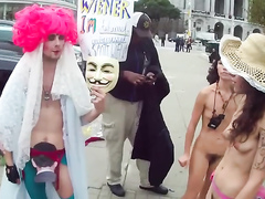 Nude protest girls with little natural tits