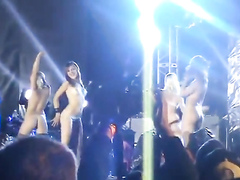 Hot fan girls dancing on stage in their thongs