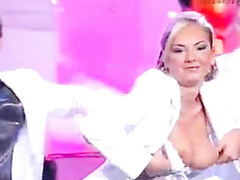 Big tits exposed on a Spanish TV show