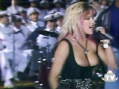 Samantha Fox nipple slip during a concert