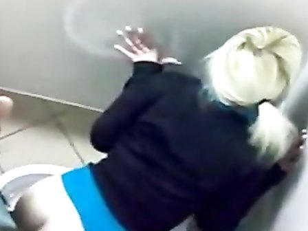 Pounding her pale ass in the club toilet