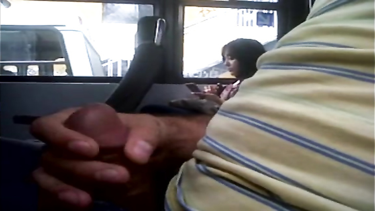 Man strokes his penis in the bus