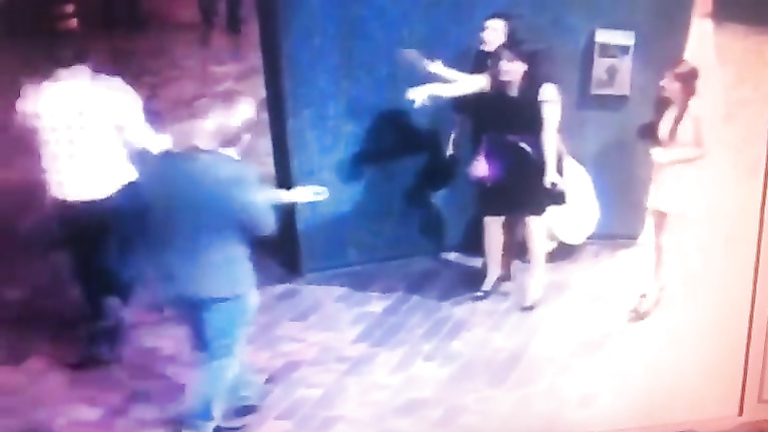 Club girls piss in public on security footage