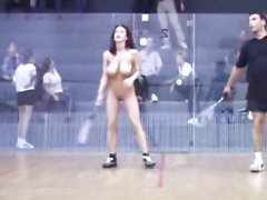 Nude babe plays squash like a pro