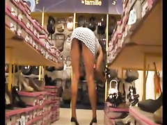 Shoe store upskirt tease gets us both horny