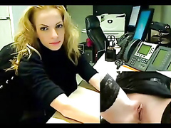 Stunningly hot webcam star at work