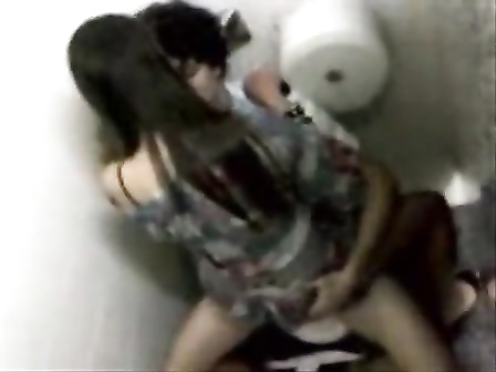 Brazilian coed riding penis in the toilet