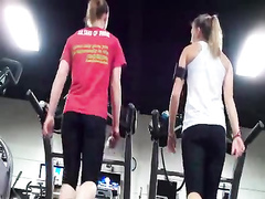Athletic asses in spandex on the treadmill