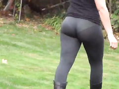 Sheer tights chick with a great ass in public