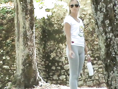Spandex leggings on a girl in the public park