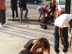 College girls fight on the middle of the street