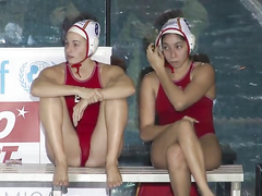 Water polo players are looking sexy on the stand