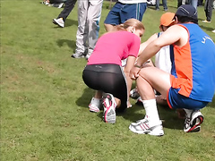 Sporty asses in spandex at a running competition