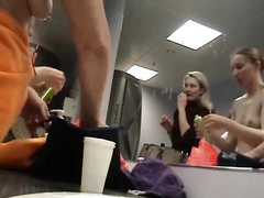 Russian actresses getting dressed in the locker room