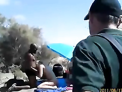 Masturbation party on the sunny beach