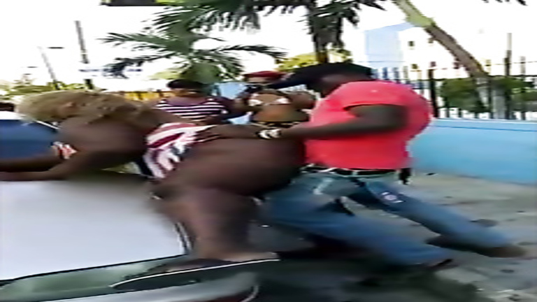 Black BBW screwed doggystyle on a public street