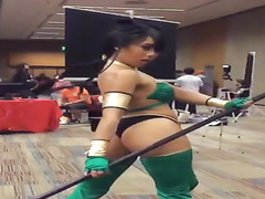 Asian cosplay babe has a hot ass in skimpy panties